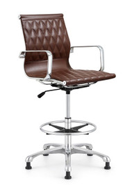 Woodstock Annie Mid Back Leather Stool - Brown