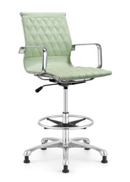 Woodstock Annie Mid Back Leather Stool - Sea Foam Green