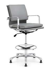 Woodstock Hendrix Mid Back Leather Stool - Gray