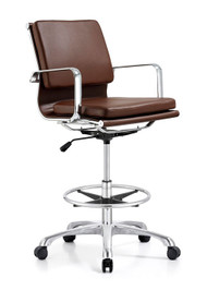 Woodstock Hendrix Mid Back Leather Stool - Brown