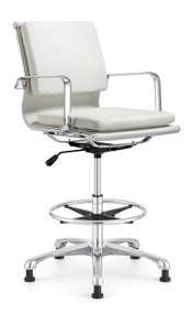 Woodstock Hendrix Mid Back Leather Stool - White