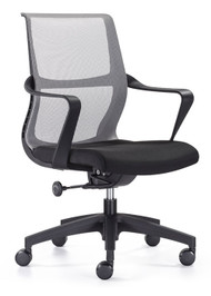 Woodstock Ravi Mid Back Mesh Task Chair - Gray Mesh Back / Black Seat