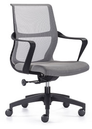 Woodstock Ravi Mid Back Mesh Task Chair - Gray Mesh Back / Gray Seat