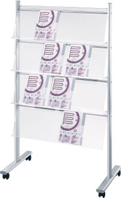 "Peter Pepper MR16 Mobile Magazine and Literature Rack - Single Sided 39"" Wide"