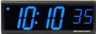 BRG Precision Products DuraTime HP640B high precision plug-in digital wall clock with a 6-digit 4-inch high blue LED display.