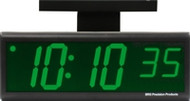 BRG Precision Products DuraTime HP640G-2SB double-sided ceiling or wall-mounted high precision plug-in digital clock with a 6-digit 4-inch high green LED display.