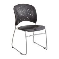 Safco Reve Guest Chair Sled Base Round Back Black 6804BL - Carton of 2