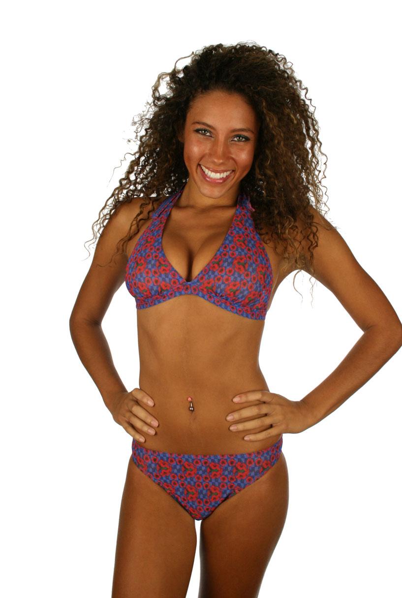 Tan through halter bikini top and matching bikini bottom
