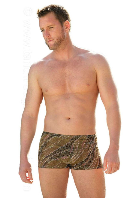 Tan through bike shorts with 9 inch sides in brown Animal print.
