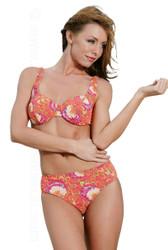 Aspen Lea modeling C/D range cup underwire bikini in orange Art Nouveau print.