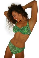 Alternative front view of Leo CD underwire bikini set in tan through fabric.