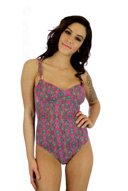 Adjustable strap underwire suit in Kaleidoscope print.