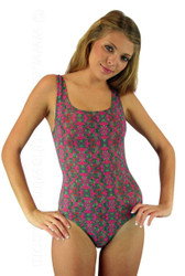 Traditional tank swimsuit in Kaleidoscope print on Allie.