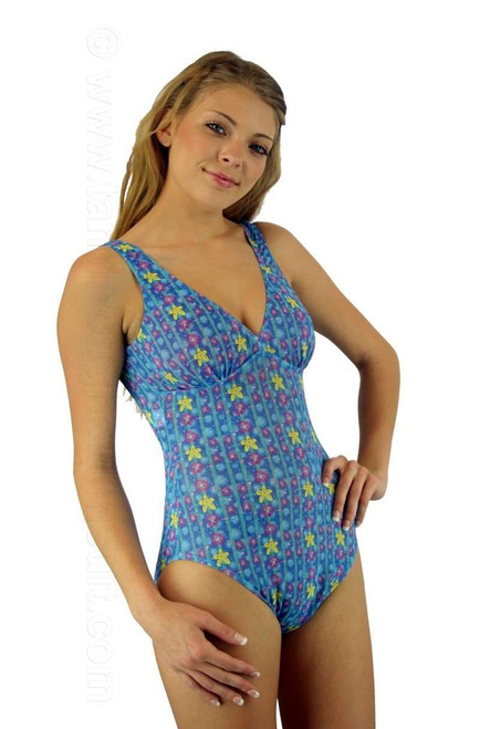V-neck structured top one piece swimsuit in blue Bubbles print.