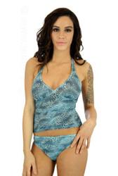 Tankini top in blue Jungle Heat print on Nicole.