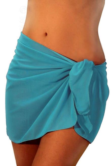 Solid aqua tan through swimsuit coverup.