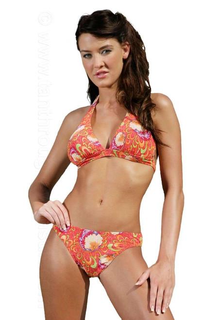 Tan through halter bikini set in Art Nouveau print.