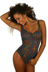 Front view of C-D underwire tan through swimsuit in multicolor Safari print.