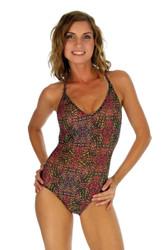 Pink Safari print on crisscross strap womens swimsuit.