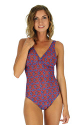 Blue Hibiscus structured top tan through swimwear for women.