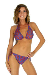 String bikini separates top in blue Hibiscus.