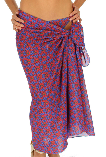 Full length swimsuit coverup in blue Hibiscus print.