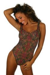 Lifestyles Direct Tan Through Swimwear -- CD underwire pink Safari women's swimsuit.