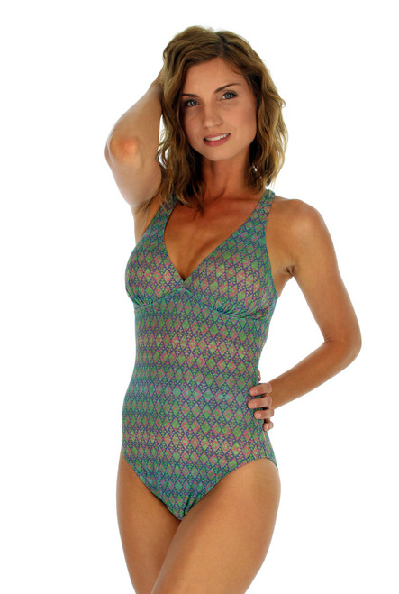Criss cross adjustable strap structured top swimsuit in green Forever print.