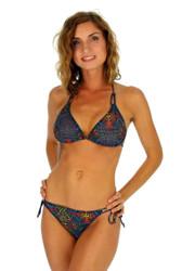 Multicolor Safari string bikini top.