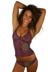 Tankini swimsuit top in purple Safari print.