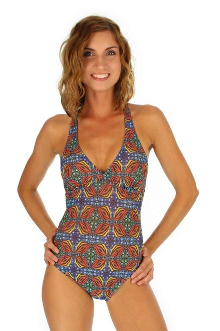 Orange Heat crisscross adjustable strap women's structured cup tank swimsuit from Lifestyles Direct Tan Through Swimwear.