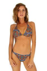 Tan through string bikini top in orange Heat.