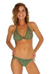 Tan through string bikini top -- green Caged -- Lifestyles Direct.