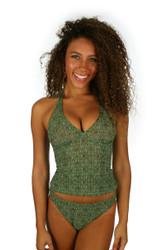 Tan through green Caged tankini top.