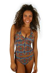 High waist bikini bottom with orange Heat print from Lifestyles Direct Tan Through Swimwear.