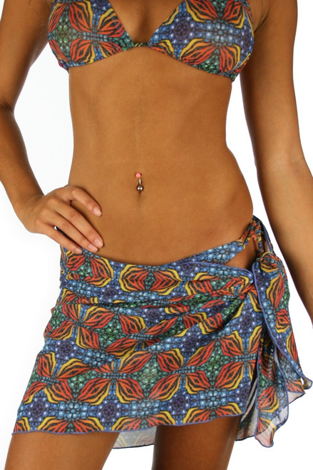 Tan through swimsuit sarong coverup from Lifestyles Direct in orange Heat.