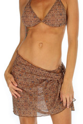 Brown Caged print on tan through sarong from Lifestyles Direct.