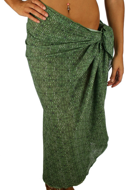 Green Caged tan through pareo swimwear coverup.
