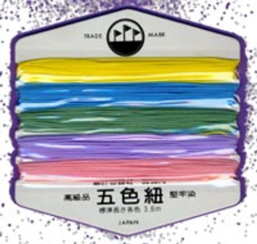 Ravel Cord Card of 5 colored cords.