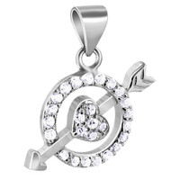 925 Sterling Silver Cubic Zirconia Circle with Heart and Arrow Pendant #P016