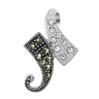 925 Sterling Silver Clear Cubic Zirconia and Marcasite Asymmetric Design Pendant