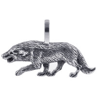 925 Sterling Silver 0.7 x 1.2 inch Wolf Southwestern Style Pendant