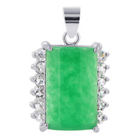 Silver Plated over Copper Nephrite Rectangular Cabochon Pendant with Clear CZ Accents