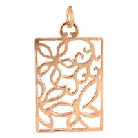 Copper Rose 0.9 x 1.2 inch Square Shaped Intricate Polish Finished Dangle Pendant