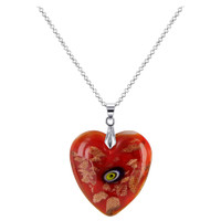 Stainless Steel Bail with 1.3 x 1.2 inch Red Color Floral Designed 6mm Thick Heart Pendant