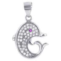 925 Sterling Silver Clear and Red Cubic Zirconia Dolphin Pendant