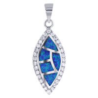 925 Sterling Silver Created Blue Opal Inlay with Cubic Zirconia Marquise Shape Pendant