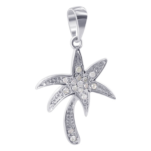 10K White Gold Diamond Palm Tree Pendant (0.10 CTW )
