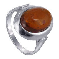 925 Sterling Silver Brown Amber Cabochon Ring #ADRS043