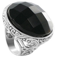 925 Sterling Silver Multifaceted Simulated Black Onyx 1.1 inch Round Ring #AFRS010